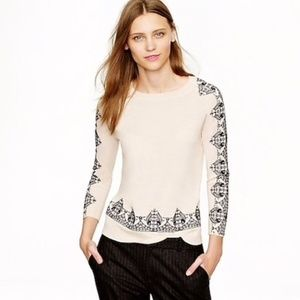 J. Crew Embroidered Lace Sweater Blush Merino Wool